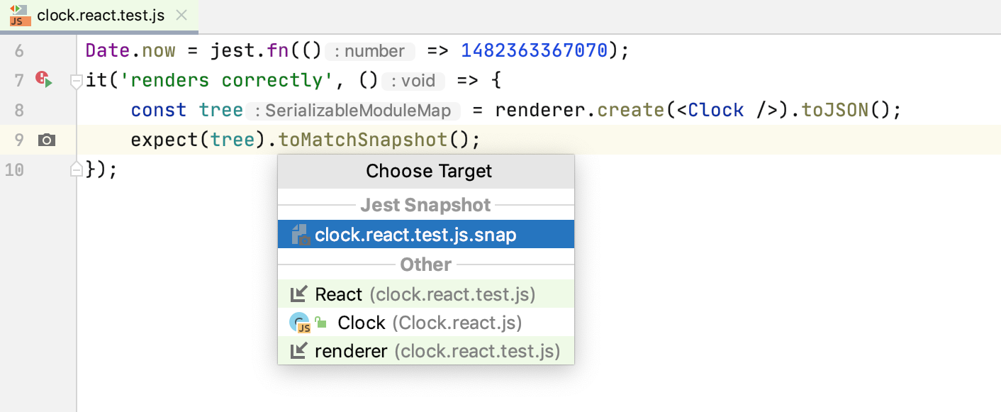 Jest snapshot testing: jump from a test file to the corresponding snapshot