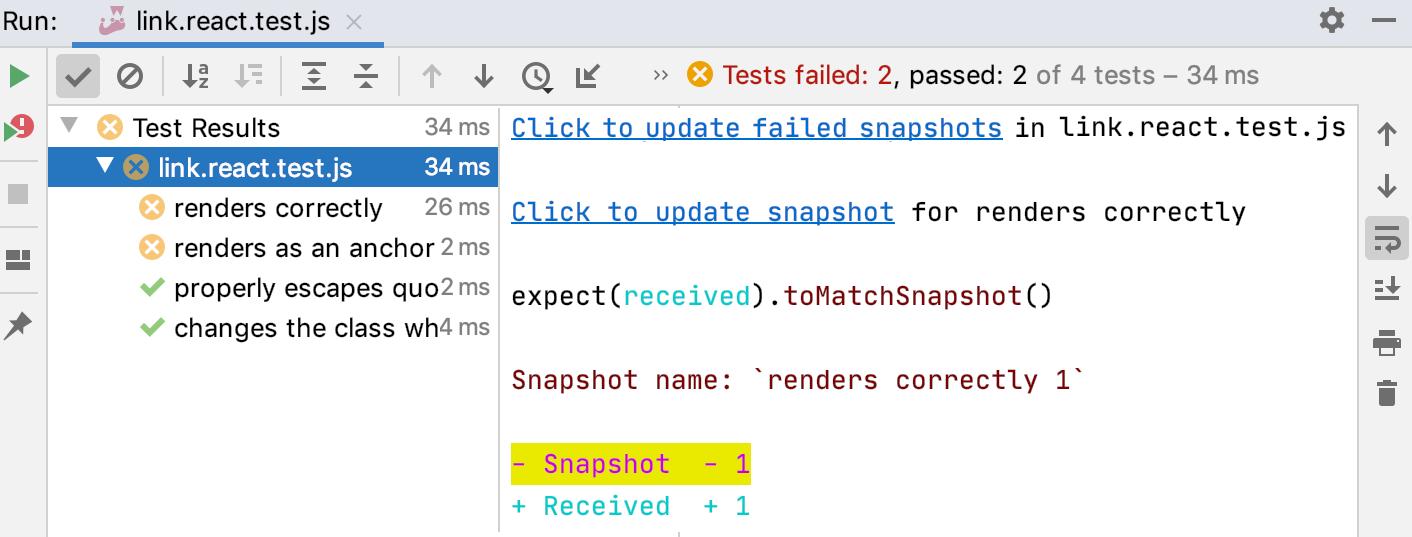 Jest snapshot testing: update snapshots