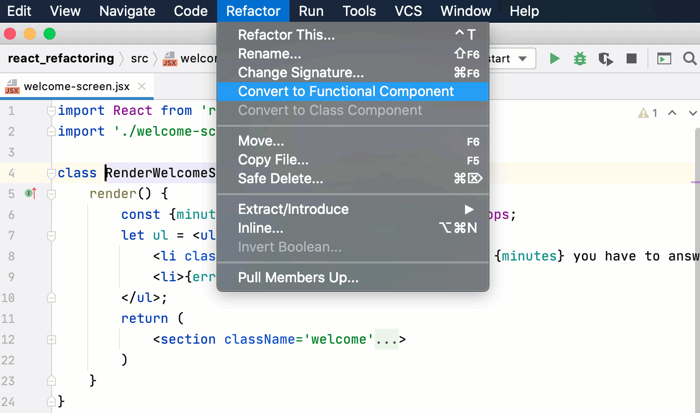 Convert a class to a functional component