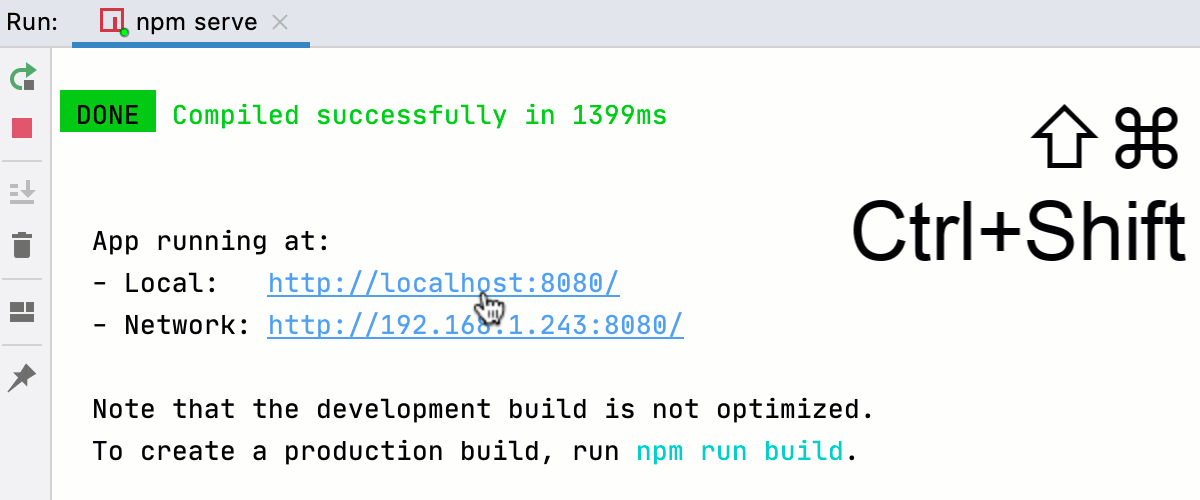 Starting a debugging session from the Run tool window