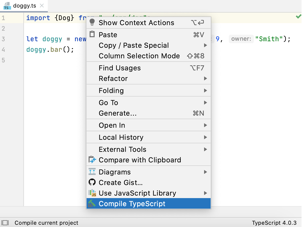 Compile TypeScript from context menu of a file