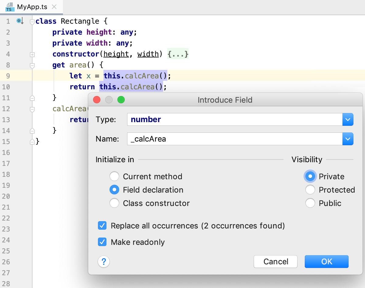 Refactoring TypeScript: Introduce Field