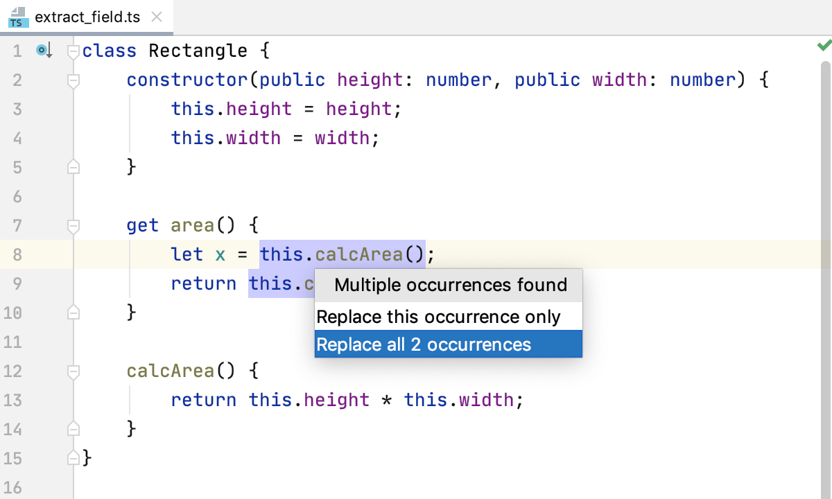 Extract field in TypeScript: several occurrences of an expression detected