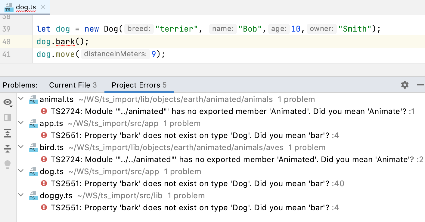 Problems tool window, TypeScript. Project Errors tab shows syntax errors across the project