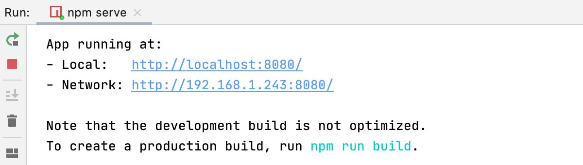 Vue.js app is running