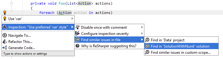 JetBrains Rider: Using action list to find similar issues