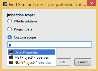 JetBrains Rider: Specifying search scope for the similar issues