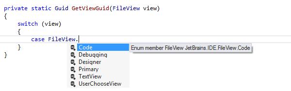 JetBrainsRider: Completion for enum members