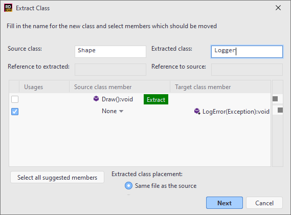 JetBrains Rider. Extract class refactoring