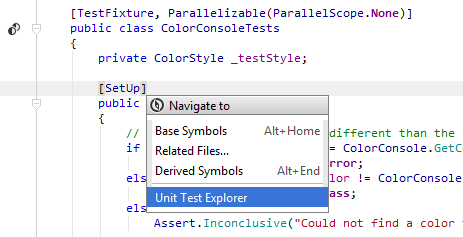 JetBrainsRider: Locating a test in the Unit Test Explorer