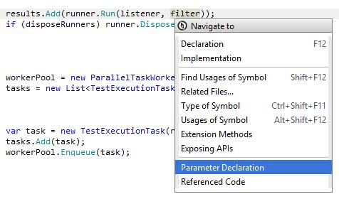 JetBrainsRider: Navigating to parameter declaration