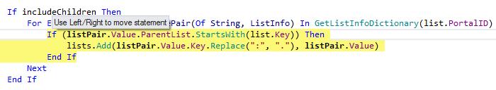 JetBrainsRider: Rearranging code in VB.NET