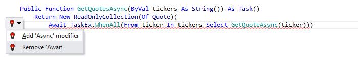 JetBrainsRider: Visual Basic support. Add 'Async' modifier quick-fix