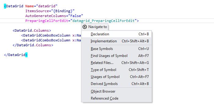 JetBrainsRider: 'Navigate To' in XAML files