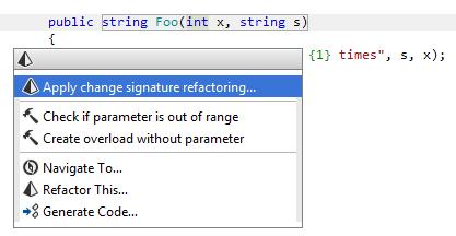 Applying the Change Signature refactoring inline
