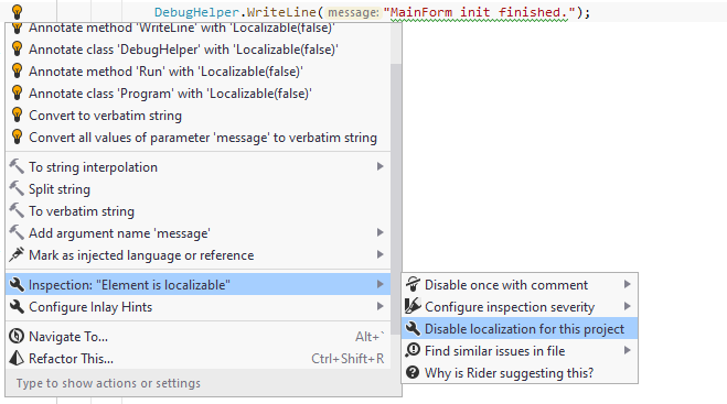 JetBrainsRider: Disabling localization inspection for project