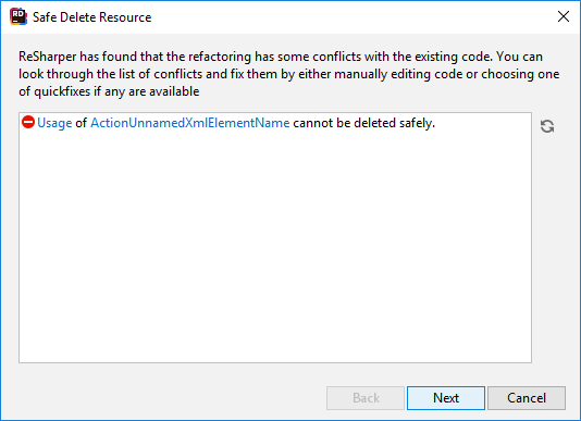 JetBrains Rider: Safe Delete resource. Conflicts