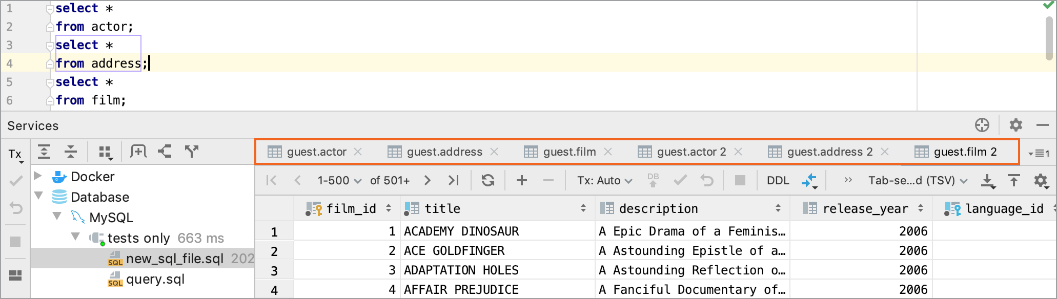 Show results on individual tabs