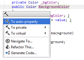To auto-property context action