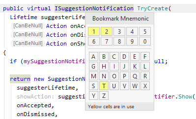 Bookmark with mnemonic popup