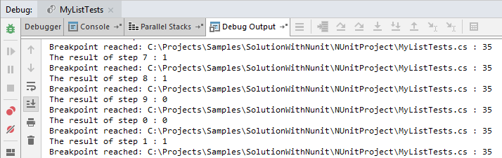 JetBrainsRider: evaluating expressions on tracepoint