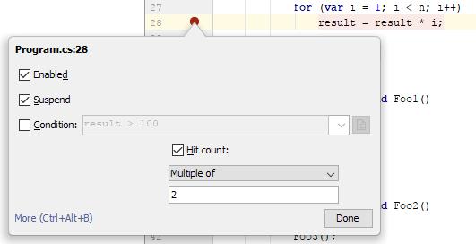 JetBrainsRider: breakpoints. hit count