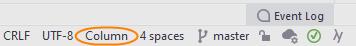 JetBrainsRider: column selection mode indicated on the status bar
