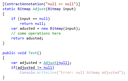 JetBrainsRider's code inspection based on contract annotation