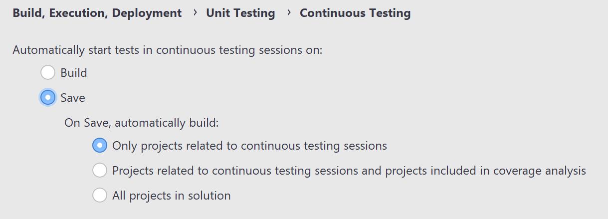 JetBrains Rider: Continuous Testing settings