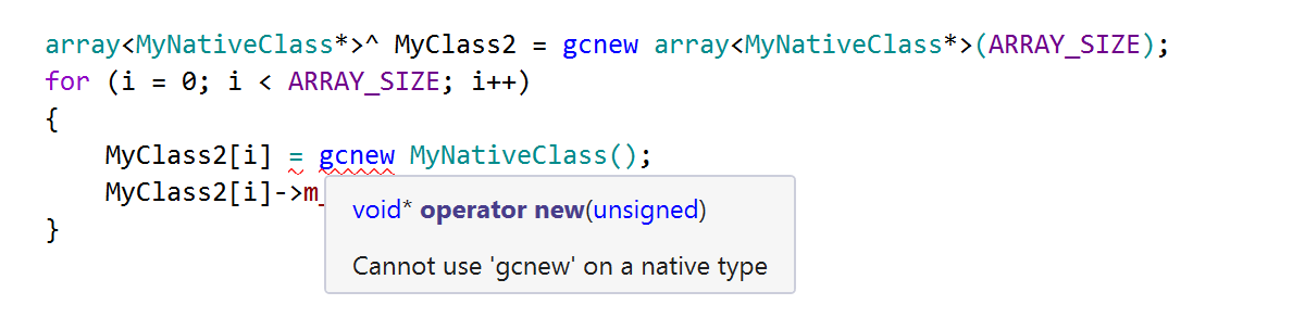 Cannot use gcnew on a native type