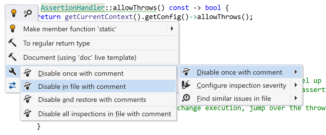 Disable inspections in C++
