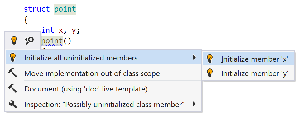 JetBrainsRider C++: quick-fix to initialize members