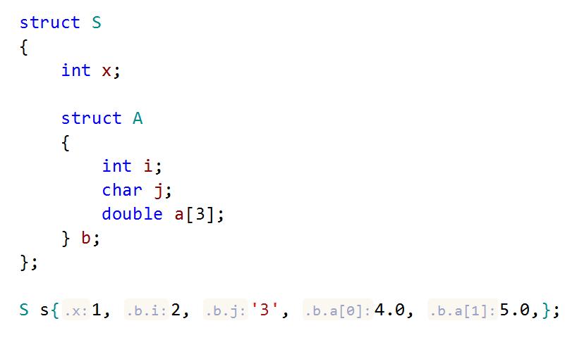 JetBrainsRider C++: parameter name hints in aggregate initialization
