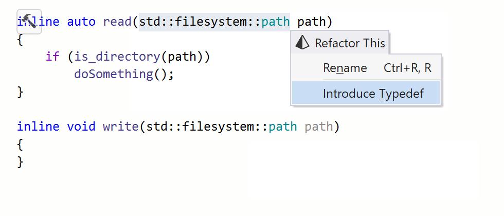 JetBrains Rider: Introduce/Inline typedef refactoring in C++