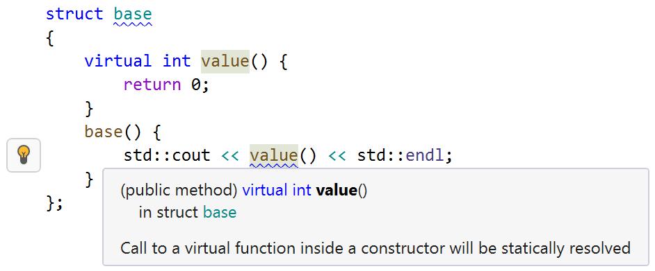 JetBrainsRider warning. virtual method in constructor