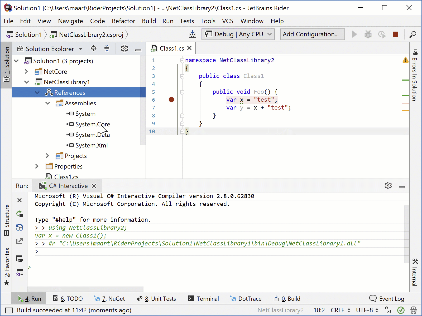 JetBrainsRider: Attaching C# Interactive to the debugger