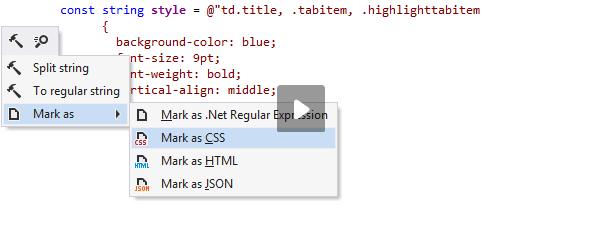 JetBrainsRider: Analyzing CSS code inside a C# string literal