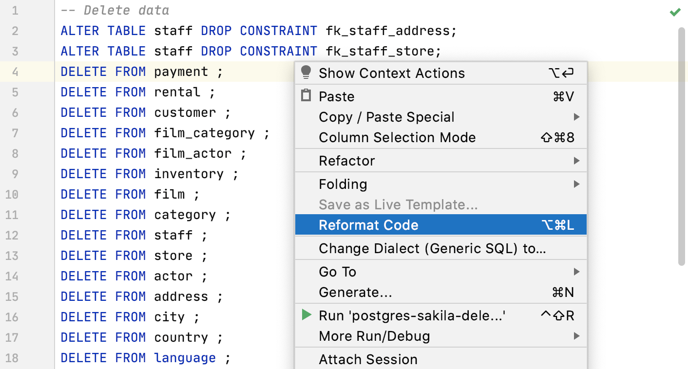Apply a code style in the editor