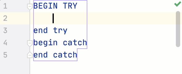 Close code blocks on Enter