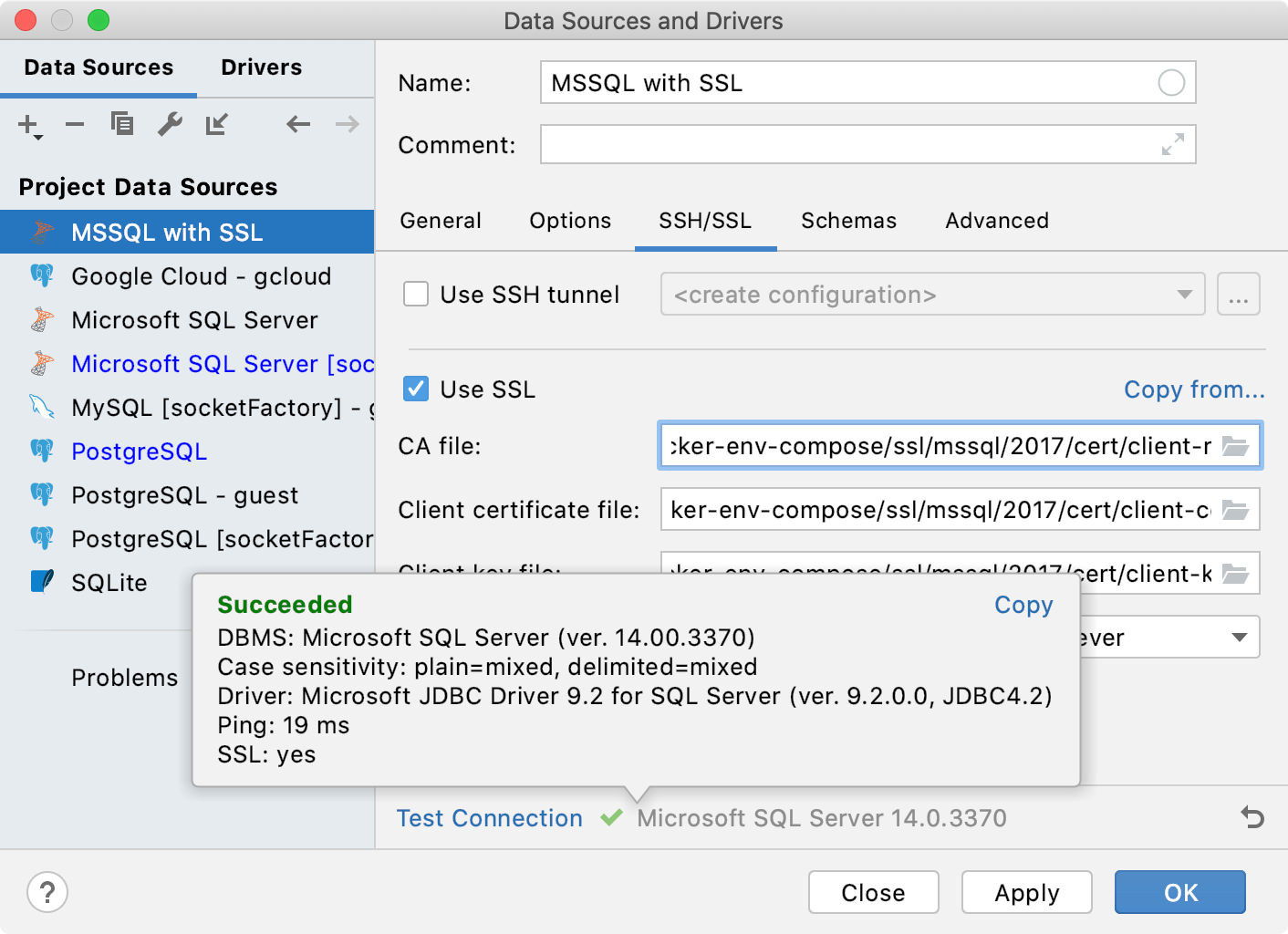 Connect to a database with SSL