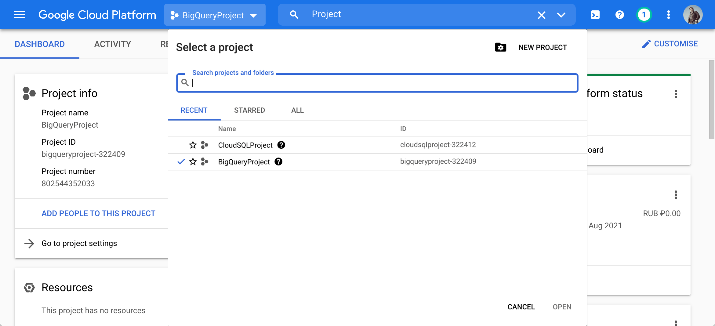 Create or select a project