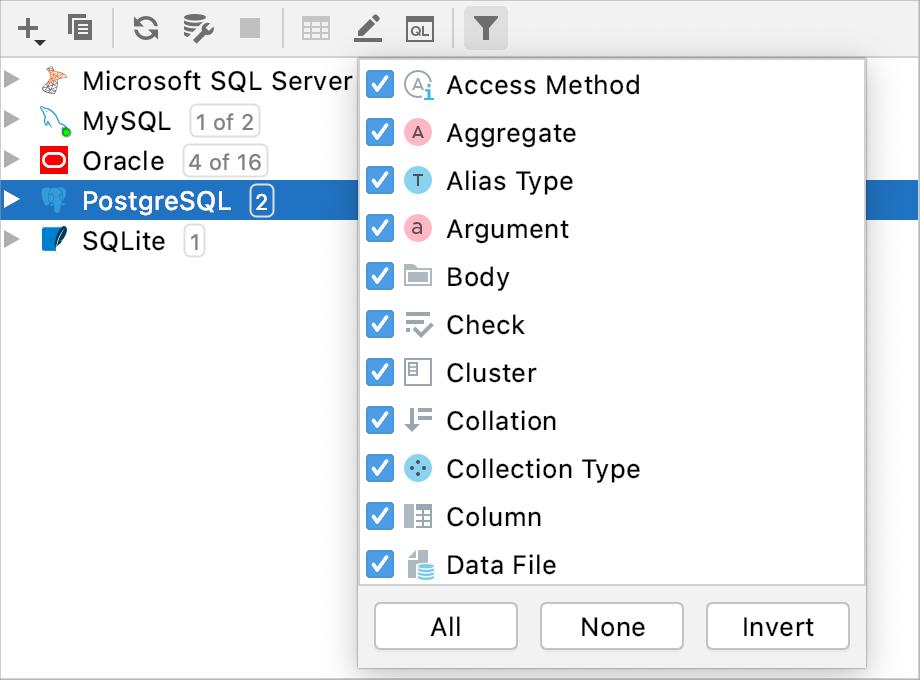 The Filter menu