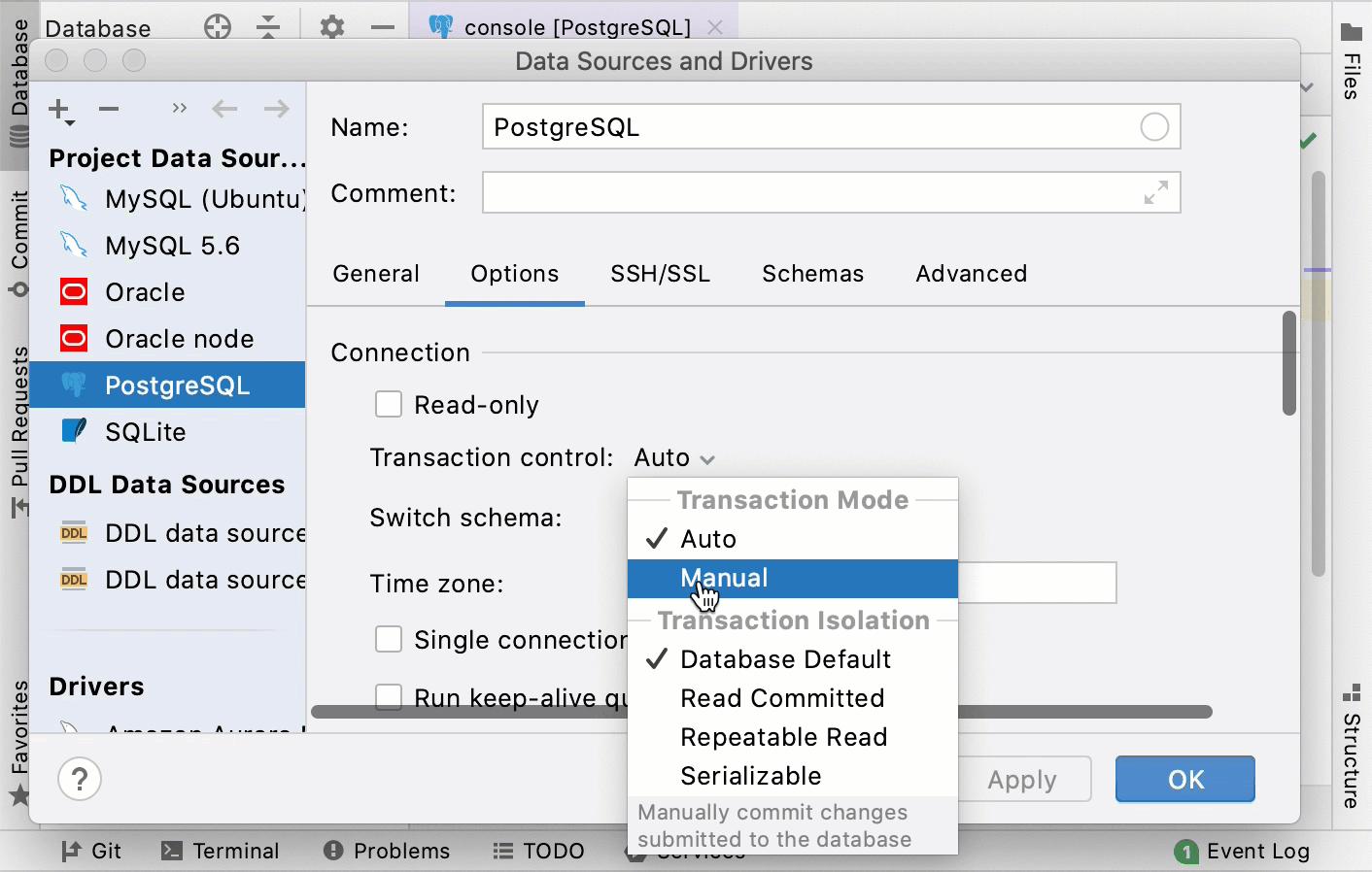 default transaction mode for a data source