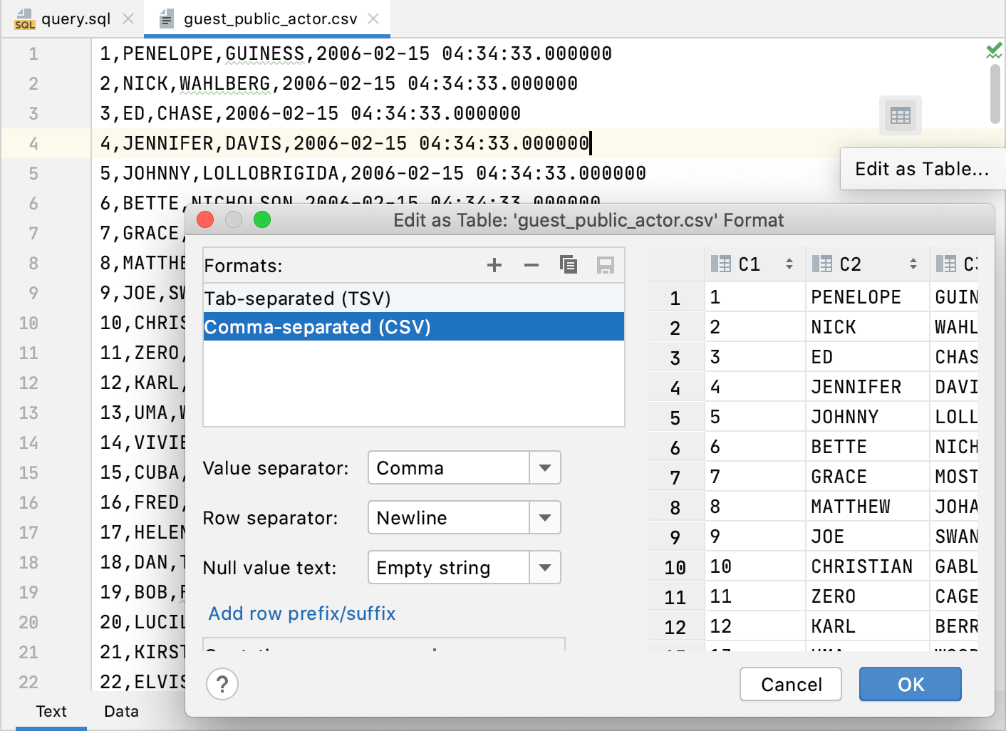 Edit CSV in the table view