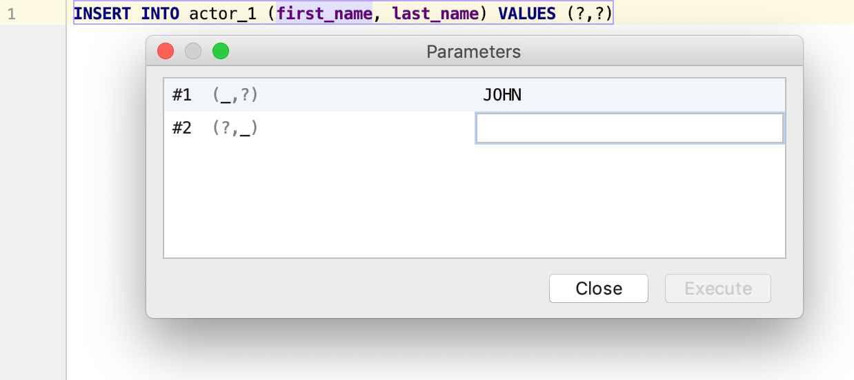 Execute a parametrized statement
