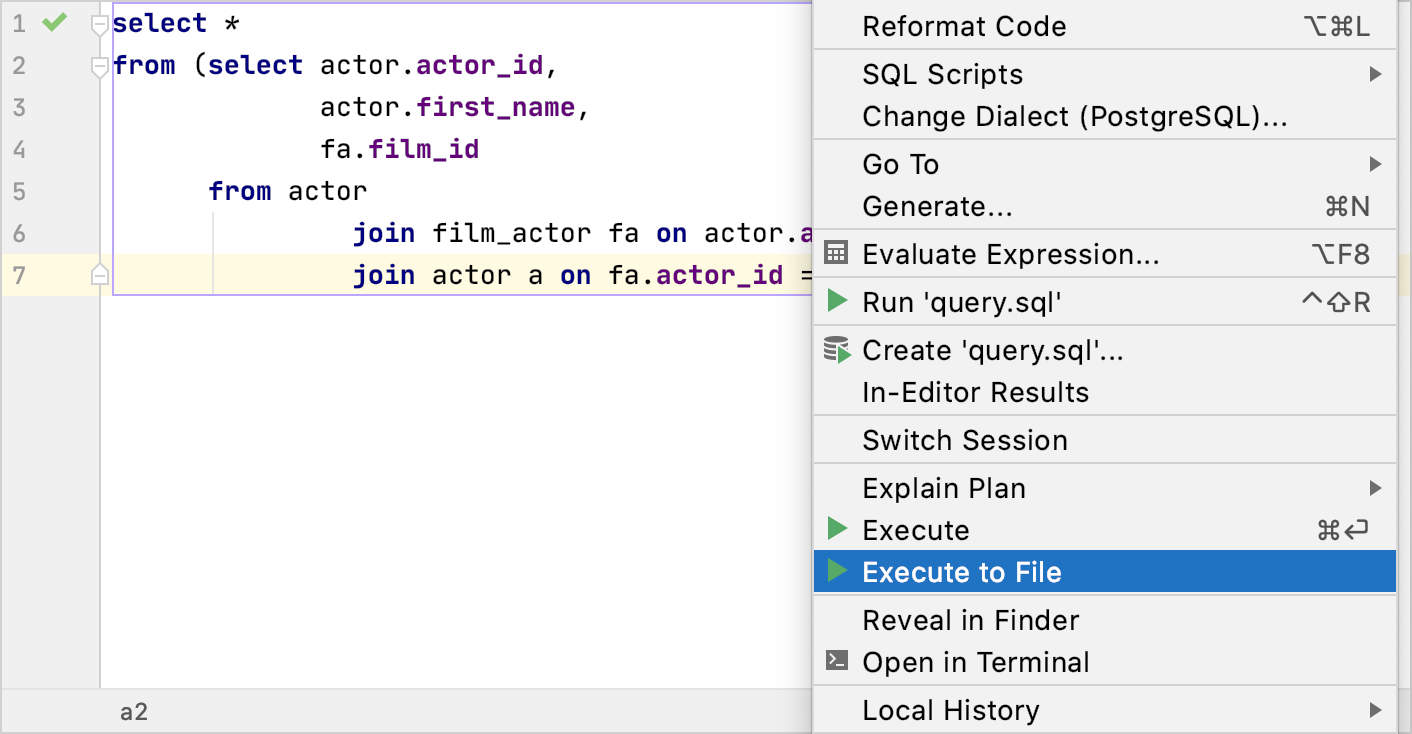 Save the result of a SELECT statement into a file