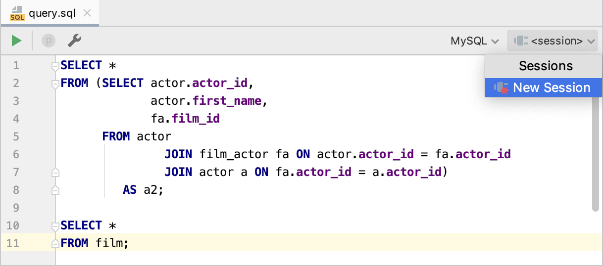 Create a connection session to a data source
