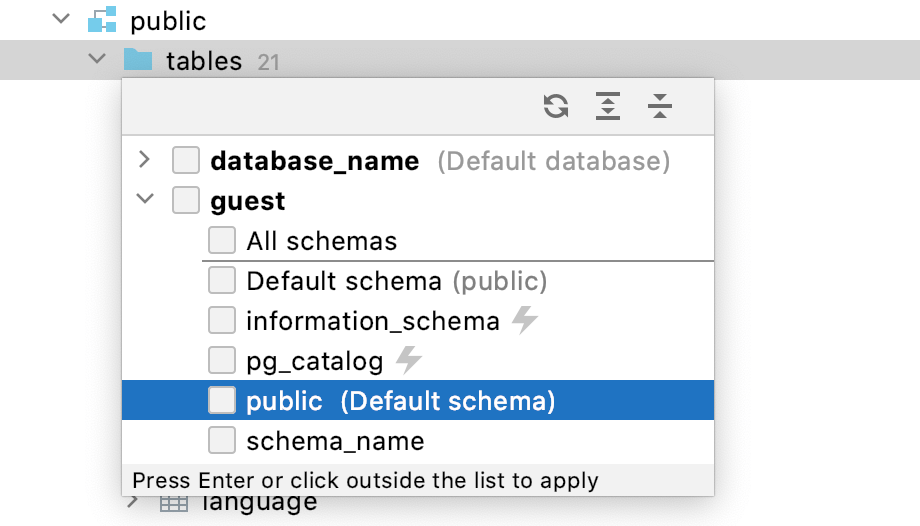 Popup with available schemas