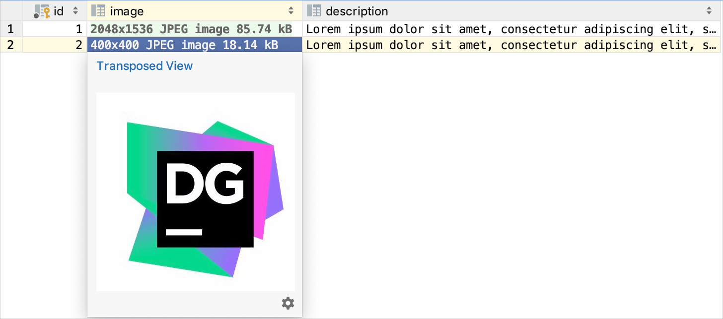 Quick documentation view for images