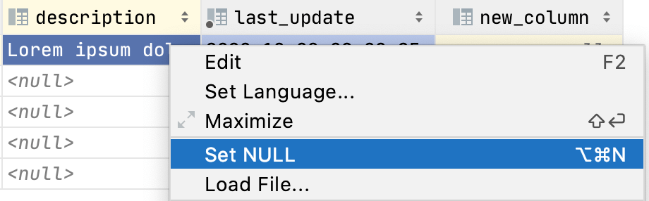 Set the NULL value